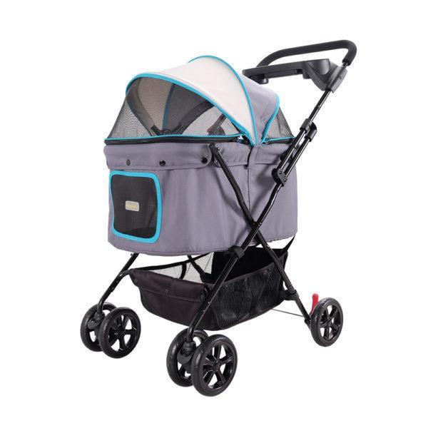 Ibiyaya Easy Strolling Pet Buggy in Grey & Blue