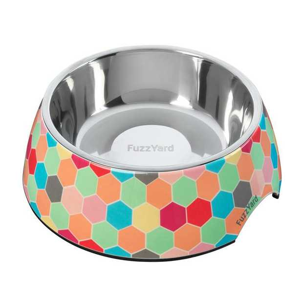 Fuzzyard Melamine & Stainless Steel Dog Bowl - The Hive [Size: Large]