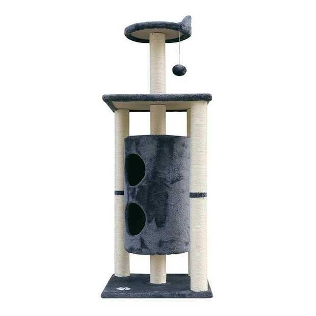 Carpet & Natural Sisal Cat Scratch Cubby Tree 123cm Grey