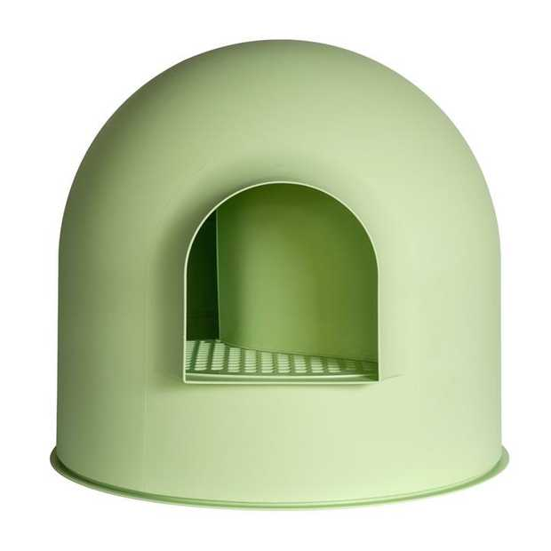 Pidan Igloo Covered Cat Litter Tray - Stops Tracking - Green