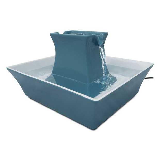 Drinkwell Stoneware Pagoda Ceramic Water Fountain 2 litres -Himalayan Blue