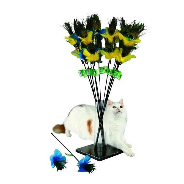 PURRfect Peacock Feather Teaser Interactive Cat Toy with Bonus Attachment