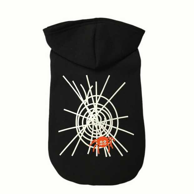 "Black Hoodie for Dogs with ""Drunk"" Spider Web Illustration [Size: Medium]"