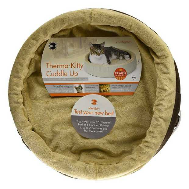K&H Thermo Kitty Cuddle Up Heated Pet Bed for Cats & Small Dogs in Polarfleece Mocha