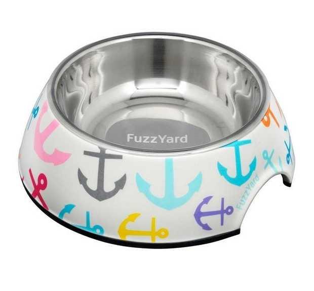 Fuzzyard Easy Feeder Melamine & Stainless Steel Dog Bowl - Pizza Lyf - Small