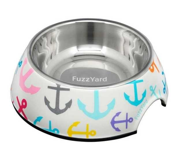 Fuzzyard Easy Feeder Melamine & Stainless Steel Dog Bowl - Pizza Lyf - Large