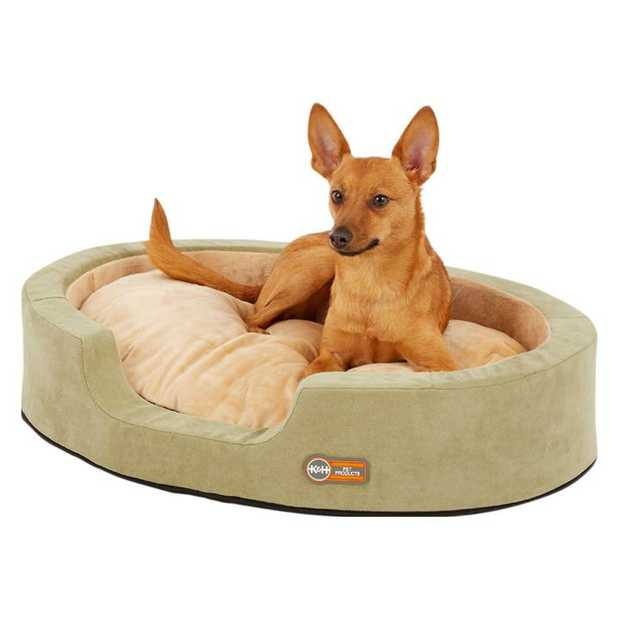K&H Thermo Snuggler Low-Voltage Heated Pet Bed for Cats & Dogs in Sage Green