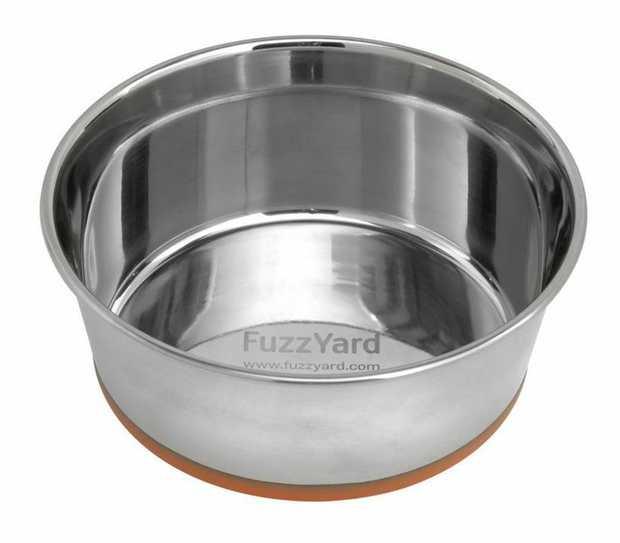 Fuzzyard Stainless Steel Dog Bowl with Orange Non-slip Base - XXL