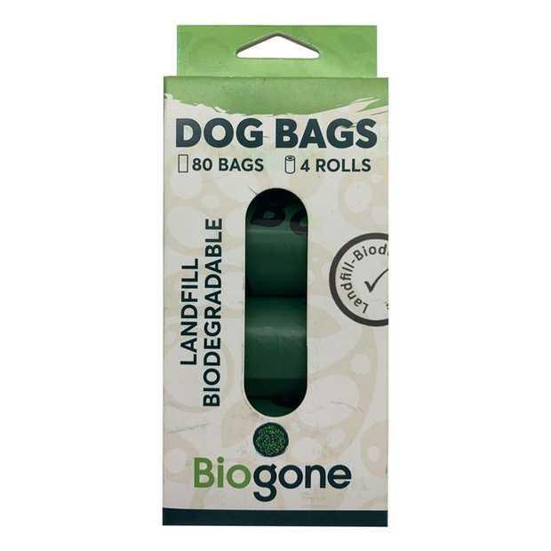 Bio-Gone Biodegradable Dog & Cat Poo Bags - 4 rolls/80 bags