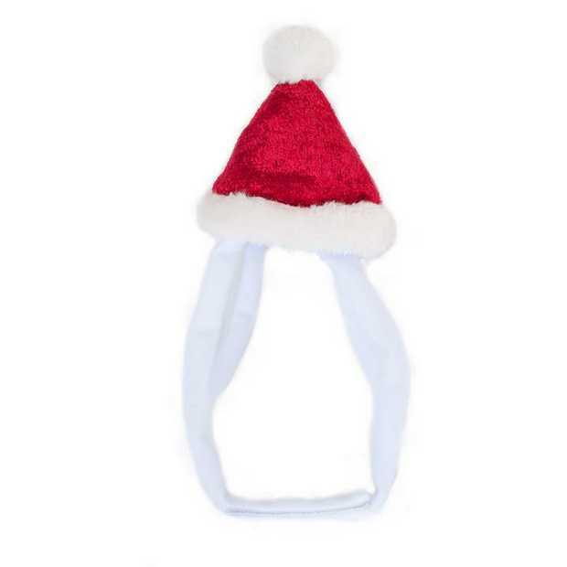 Zippy Paws Christmas Santa Headband Hat for Dogs & Cats - Small