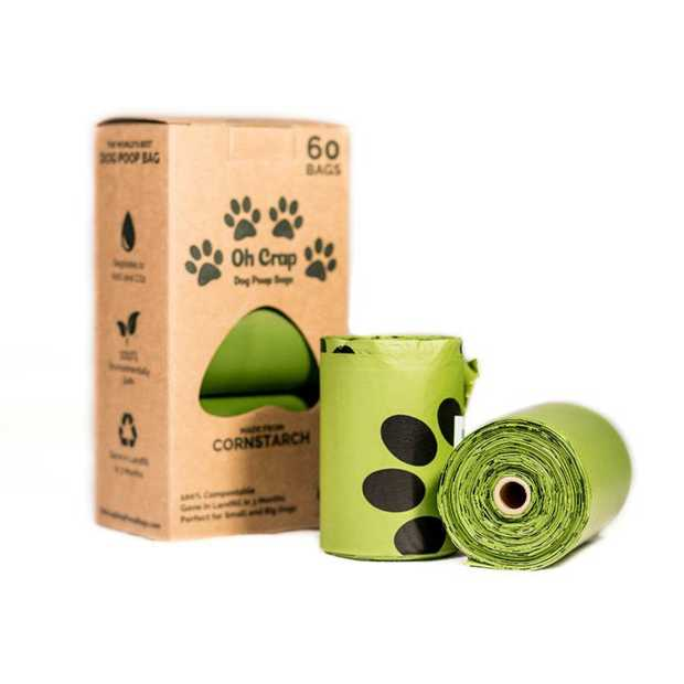 Oh Crap Dog & Cat Poo Bags - Biodegradable Compostable - 3 rolls/60 bags