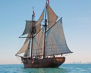 Experience the joy of sailing on a traditionally built and rigged wooden sailing tall ship!