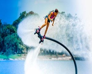 Experience the feeling of flying through the air with a flyboard!