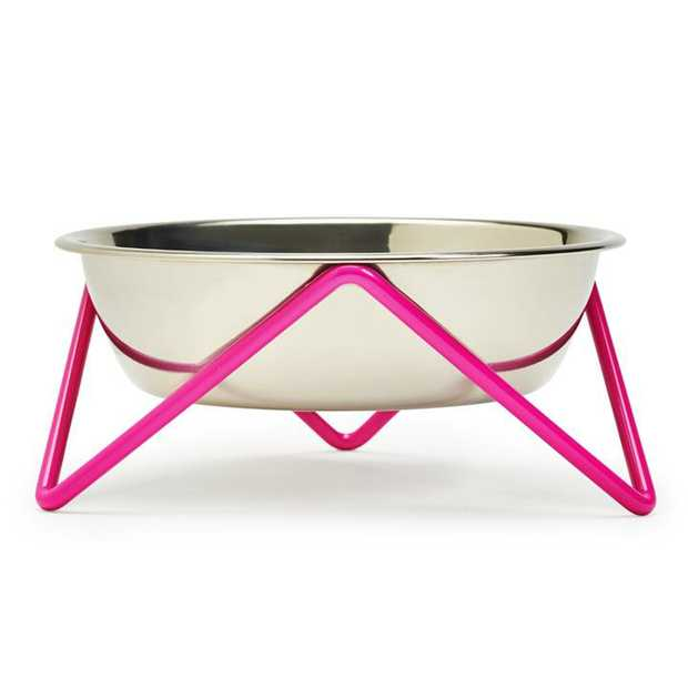 Bendo Meow Raised Stainless Steel Cat Bowl with Pink Steel Stand