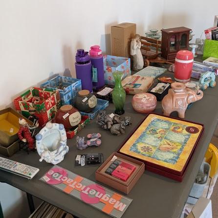 Household items, fridge, microwave, TV, QS foam mattress, 2 wedding dresses size 10, 1 flower girls...