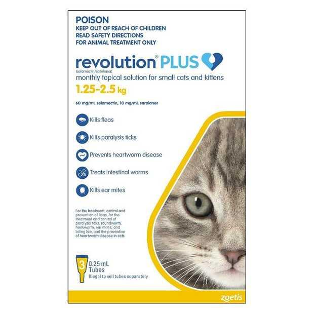 Revolution PLUS Flea, Worm & Tick Topical Prevention for Kittens 1.25-2.5kg  - 3-Pack