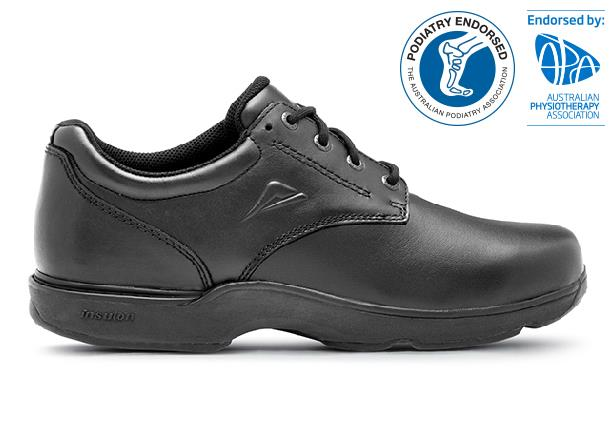 The Ascent Apex Snr (D) Black is a traditional & highly durable black leather school shoe or work shoe...