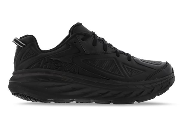 These black leather walking shoes from HOKA ONE ONE provide incredible cushioned comfort and protection...