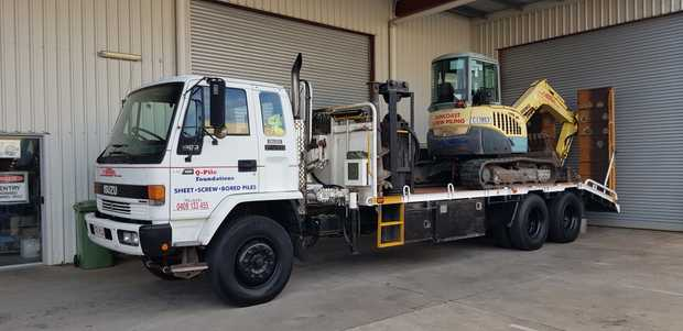 Isuzu truck and Yanmar 5.5t excavator with tilt hitch, 4 buckets and ripper, 5 augers and rock grab.