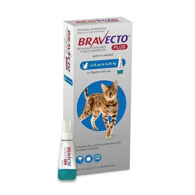 Bravecto PLUS Spot-On 3 month Flea, Tick & Worm Protection - For Cats 2.8 - 6.25kg