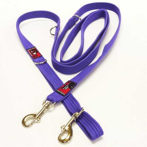 Black Dog Double-Ended Training Dog Lead - Regular Width - Purple