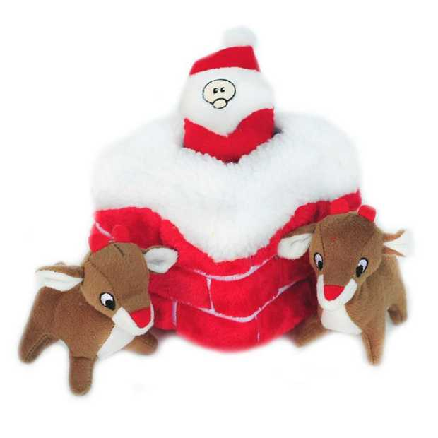 Zippy Paws Christmas Chimney Burrow Dog Toy with 3 Reindeers