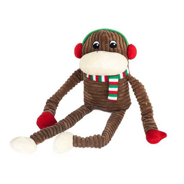 Zippy Paws Christmas Holiday Crinkle Monkey Long Leg Plush Dog Toy - Extra Large