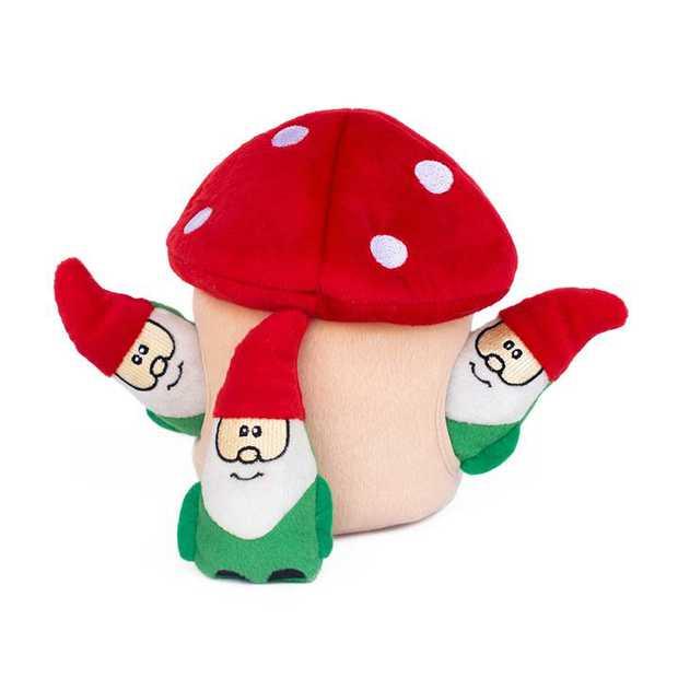 Zippy Paws Interactive Dog Toy - Holiday Burrow - Gnomes in Mushroom