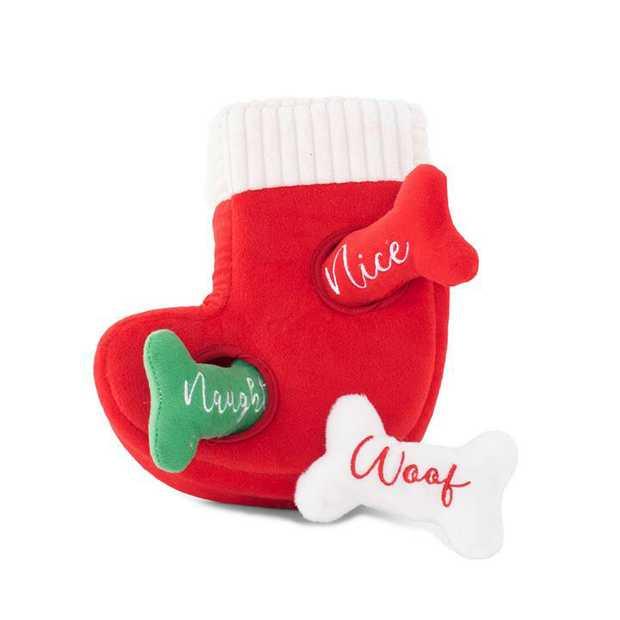Zippy Paws Interactive Dog Toy - Holiday Burrow - Naughty or Nice Stocking
