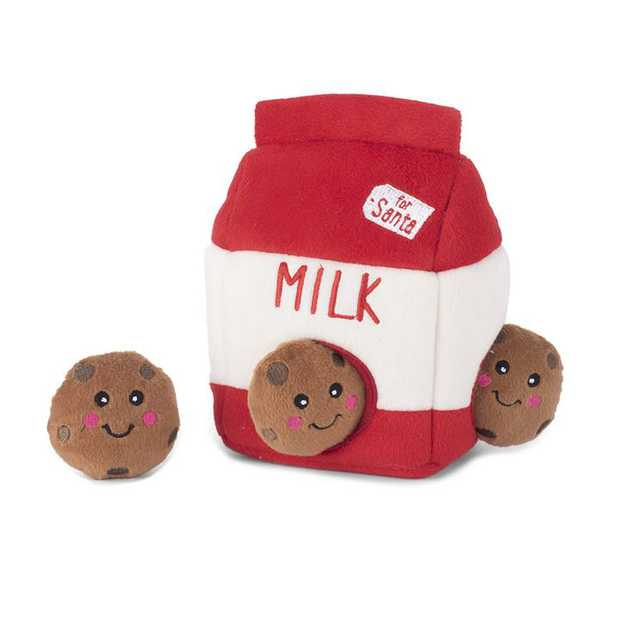 Zippy Paws Interactive Dog Toy - Holiday Burrow - Santa's Milk and Cookies
