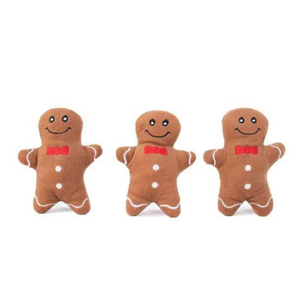 Zippy Paws Miniz Squeaker Dog Toys - 3-Pack - Gingerbread Men