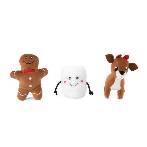 Zippy Paws Miniz Squeaker Dog Toys - 3-Pack - Gingerbread, Marshmallow & Reindeer