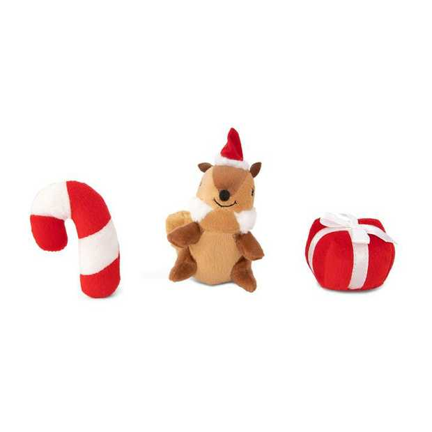 Zippy Paws Miniz Squeaker Dog Toys - 3-Pack - Squirrel, Candycane & Present