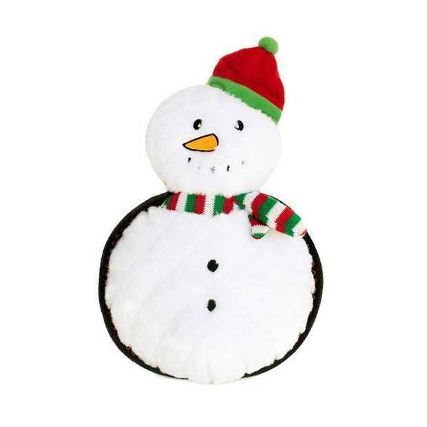 Zippy Paws Holiday Grunterz Plush Z-Stitch Dog Toy - Snowman