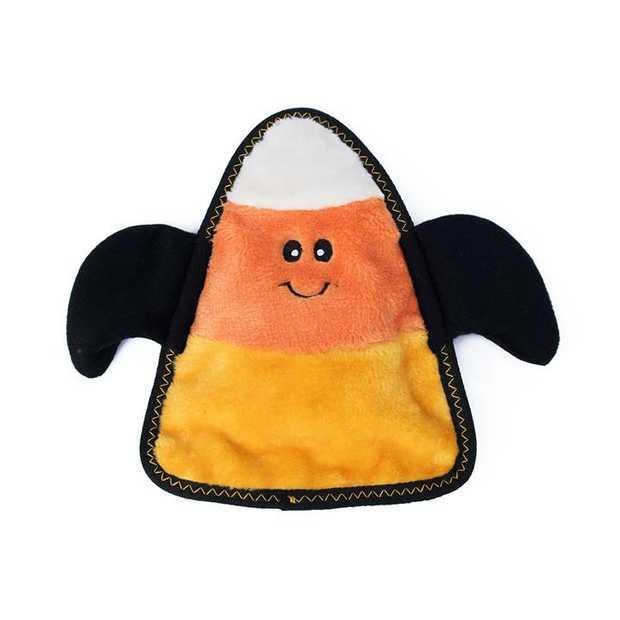Zippy Paws Halloween Z-Stitch Squeaker Dog Toy - Candy Corn Bat