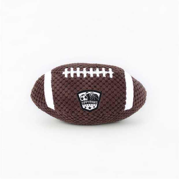 Zippy Paws Plush Squeaker SportsBallz Dog Toy - Football