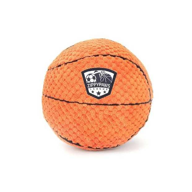 Zippy Paws Plush Squeaker SportsBallz Dog Toy - Basketball