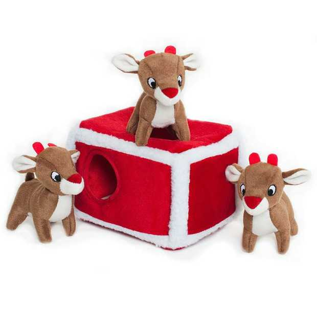 Zippy Paws Christmas Burrow Interactive Dog Toy - Reindeer Pen