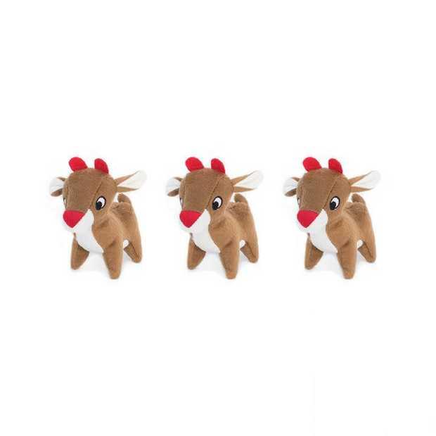 Zippy Paws Miniz Squeaker Dog Toys - 3-Pack - Reindeers