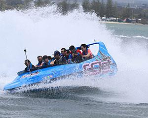 Embark on a 55-minute ride through Gold Coasts Broadwater featuring 360-degree spins, high-speed...
