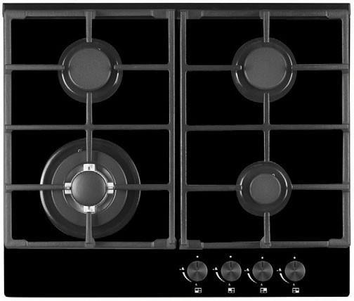 4 burners inc. 1 wok burner Gas on black glass Electric under-knob ignition Front control operation...