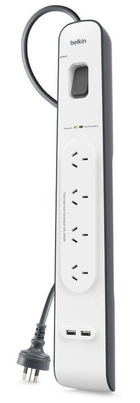 Four (4) AC Outlets525 Joules of surge protection2 meter cord lengthDual Port 2.4A Universal USB...