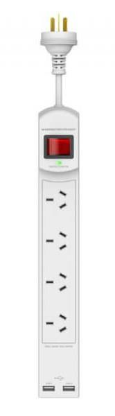 900 Joules Protection USB ports at 2.4Amps MOV Fire Protection Technology LED Indicator Lights Power...