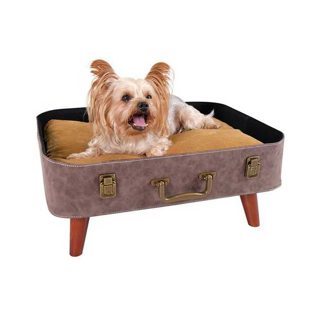 Ibiyaya Vintage Retro Suitcase Pet Bed for Cats and Dogs
