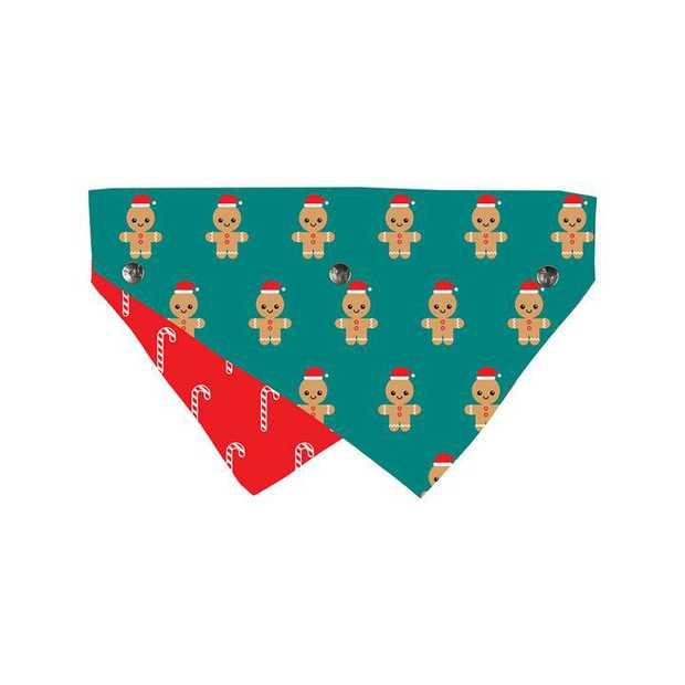 Fuzzyard Reversible Christmas Bandana for Dogs and Cats - Gingerbread Man - Small/Medium