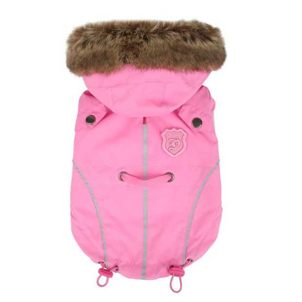 Puppia Fargo Lightweight Dog Jacket with Faux Fur Hood - Pink [Size: 3L]
