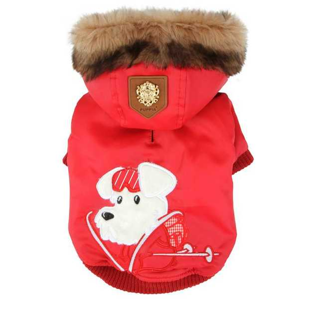 Puppia Alpine Waterproof Dog Jacket with Removable Faux Fur Hood - Red [Size: XX-Large]
