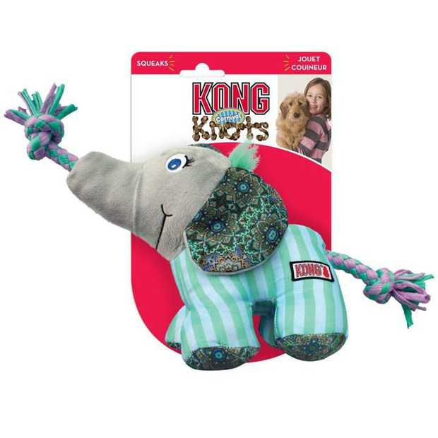 KONG Dog Toy Knots Carnival Elephant is a soft, cuddly play toy on the exterior with tough, durable...
