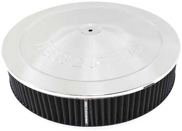 "Chrome Air Filter Assembly 14"" x 3"", 5-1/8"" neck, 1-1/8"" Drop base , black washable cotton element"