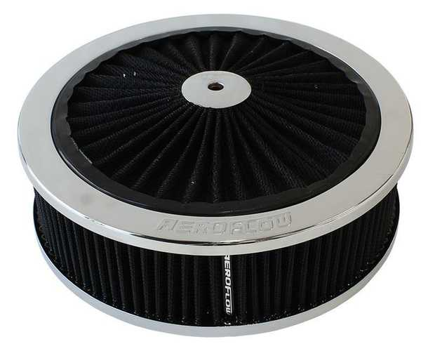 "Chrome Full Flow Air Filter Assembly with 9"" x 2-3/4"", 5-1/8"" neck, black washable cotton element"